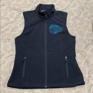 Black Vest with Turquoise Embroidered Horse Head